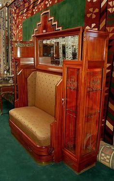 Spectacular Art Nouveau Bench & Curio Cabinet