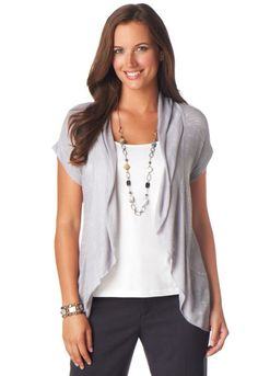 I like the layered look, the long necklace and I love the short sleeve cardigan.  I really want/need some cardigans that aren't too bulky.  A few short or quarter length sleeve cardigans would be great!