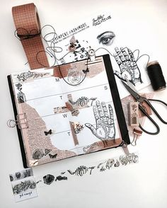 GORGEOUS! __ Look at this journal! I love everything about it -  from simple color theme to the way she draws... and even the elements that lay on the table next to the journal  OMG, what a Beauty! #artjournal #diary #notebook #sketchbook