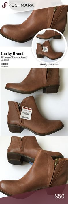 """LUCKY BRAND Distressed """"Brennon"""" Bootie NWT! From Lucky Brand, the """"Brenon"""" women's distressed zip booties in beautiful warm toffee color feature: smooth leather upper, dual side zip entry for easy off/on, man made lining/sole, approx. 1 1/2"""" stacked heal. They have the look of comfortable, broken-in booties! PLEASE NOTE: A distressed leather tends to mark easily....I've tried to capture this with flash photos in last pictures versus w/o flash. Please consider this type of leather before…"""