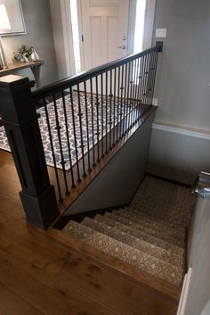 Hickory Hardwood Flooring with Patterned Staircase Carpet Hickory Wood Floors, Birch Floors, Real Wood Floors, Wide Plank Flooring, Engineered Hardwood Flooring, Installing Hardwood Floors, Carpet Stairs, Patterned Carpet, Clever Design