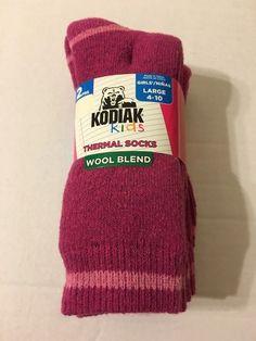 Girls Socks Shoe Size Large 4 10 Thermal Wool Blend Fuchsia   eBay