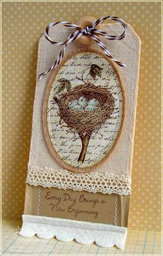 Vintage/Shabby Chic Tag card made by Inger Harding. Shabby Chic, Shabby Vintage, Vintage Birds, Scrapbooking, Scrapbook Cards, Card Tags, Gift Tags, Timmy Time, Handmade Tags