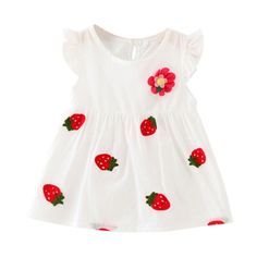 >> Click to Buy << Baby Girl Newborn Dress Summer Petal Sleeve Flower Strawberry Cotton Dresses Kids Infant Clothes Vestidos Hot Sale #Affiliate