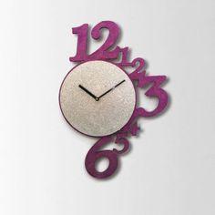 Klok Big Glittering Wall Clock Purple And Silver