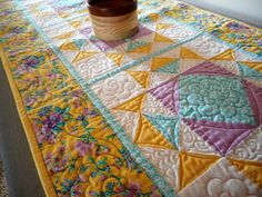 spring floral quilted table runner, yellow white kitchen quilt, handmade table quilted linen, country cottage chic decor, spring colors by SewEverAfter on Etsy