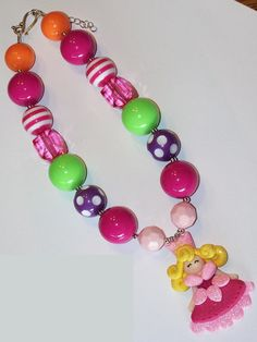 Sleeping Beauty Hot Pink Lime Green Purple Orange Polka Dot Chunky Big Beads Bubblegum Beads Necklace