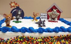 """Unique, Hard to Find Tom and Jerry 8 Piece Cake Topper Set Featuring Tom, Jerry, Spike, A Big Bomb Cake Decoration, A Dog House Cake Decoration, And A """"Do Not Enter"""" Sign. by Tom and Jerry, http://www.amazon.com/dp/B007DCTLUS/ref=cm_sw_r_pi_dp_141Vqb13XHGAC"""