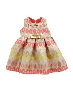 Zoe Ikat Brocade Party Dress, Coral, Size 12-24 Months