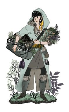 Illustration: WitchsonaFun with colors and clothes and plants!