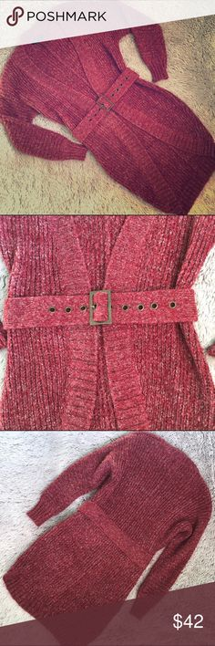 BCBG MaxAzria Cardigan-Like New Beautiful and super soft marled red cardigan by BCBG MaxAzria.  Has a belted front that is attached to the sweater.  Long enough to cover your backside. Super cute with leggings or skinny jeans❤️Like new. I don't think it was even worn, but not 100% certain. BCBGMaxAzria Sweaters Cardigans