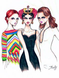Valentino, Dolce & Gabbana, and Gucci by Domenico Tortora Illustration.Files: S/S 2015 Fashion Illustrations by Domenico Tortora