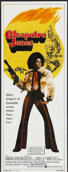"""""""Blaxploitation"""",with its' stories drawn from and set down on ghetto streets in America would also mark the rise of Black women actors including Tamara Dobson in Cleopatra Jones. Good Girl, Cleopatra, Cinema Posters, Movie Posters, Retro Posters, African American Movies, Classic Movies, Vintage Movies, Black History"""