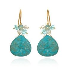 Turquoise Drop Multi-Stone Earrings ~ #Mediterranean inspired colors reminiscent of the oceans reflections - #jewelry  ~ $78.00