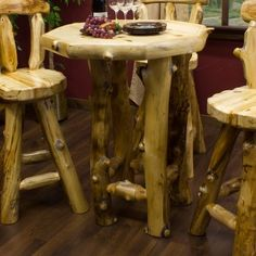 Aspen Log Pub Table- Cabin Decor
