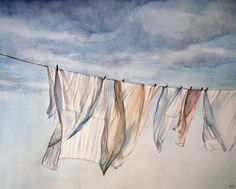 Sheets on the Line, print of original watercolor painting, laundry room decor