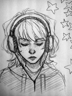 New Music Headphones Art Girls Ideas Cool Art Drawings, Pencil Art Drawings, Art Drawings Sketches, Indie Drawings, Biro Drawing, Psychedelic Drawings, Music Drawings, Sketch Drawing, Drawing Poses