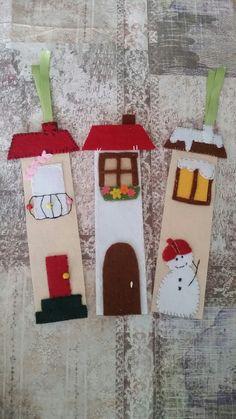 3 farklı mevsimden ev konseptli keçeden kitapayracları. . #bookmark #felt #winter #spring #summer