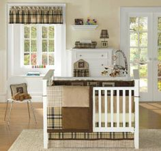 $99.00-$180.00 Baby Bananafish Spot 4 piece bedding set includes: comforter, bumper, crib sheet, crib skirt. Packaged in a high quality vinyl bag with star fish toggle closure and handles. Bananafish Spot collection features brown and tan plaid and is accented with adorable puppy icons that will add the perfect finishing touch to any nursery décor.