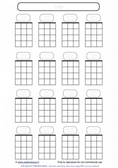 Fret map for baritone ukulele, simplified to keep it clean