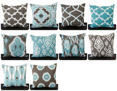 This listing is for ONE throw pillow cover for size 22x22 inserts in wonderful in the Spirit line which Spirit Blue (light teal), Spirit Brown