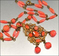 Czech Art Deco Necklace Coral Glass Gold Gilt Art Deco Jewelry Vintage 1920s