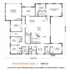 U shaped house--I would convert the theater room for the Gunroom, combine bedroom 2/active room to be the inlaw suite w/outside access and add a third car garage. Love the large pantry and open concept.