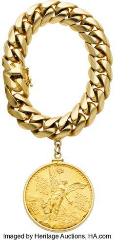 Elizabeth Taylors 14k Gold Bracelet with 1947 Gold Peso Coin