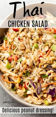 Thai Chicken Salad, Chicken Salad Recipes, Healthy Salad Recipes, Chicken Thigh Recipes Oven, Chicken Leftover Recipes Healthy, Thai Peanut Chicken Salad Recipe, Chicken Salad Healthy, Cooked Chicken Recipes Leftovers, Healthy Sides For Chicken