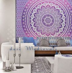 Ombre Purple Pinkmandala Indian Wall Tapestry Home Dorm Decor Bohemian Tapestry | eBay