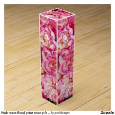 Pink roses floral print wine gift box