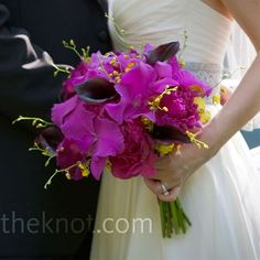 Ashlee carried an eye-popping bouquet of fuchsia cattleya orchids and peonies, plum calla lilies, and a few yellow oncidium orchids to soften it up. Hot Pink Bouquet, Calla Lily Bouquet, Lavender Bouquet, Flower Bouquet Wedding, Calla Lilies, Pink Black Weddings, Wedding Flower Inspiration, Wedding Ideas, Flower Ideas