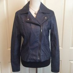 """Deep Navy Faux Leather Moto Jacket NWOT Stylish Moto Jacket in perfect condition. Fully lined. This is one of the nicer faux leather jackets I've come across. Purchase at Macy's. NWOT. I lost weight before I got a chance to wear it. 22""""L, 19.5B (fully zipped). Jou Jou Jackets & Coats"""