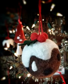 Needle Felted Christmas Pudding Bauble Decoration by Emma herian