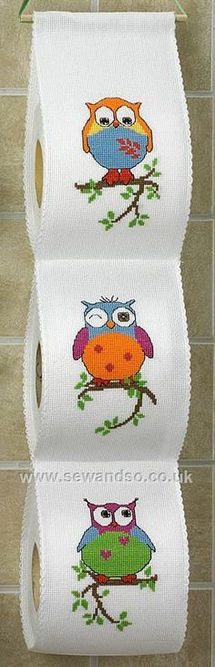 Owls Toilet Roll Tidy Cross Stitch Kit - Sew and So Cross Stitch Owl, Cross Stitch Animals, Cross Stitch Charts, Cross Stitch Designs, Cross Stitching, Cross Stitch Embroidery, Embroidery Patterns, Hand Embroidery, Cross Stitch Patterns