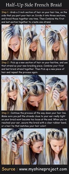 Half-up side french braid tutorial: she makes it look like a french braid! This looks really cool on sun-bleached hair! summer hair tutorials, braids for summer, braid half-up Braided Hairstyles Tutorials, Pretty Hairstyles, Easy Hairstyles, Sport Hairstyles, Wedding Hairstyles, Hairstyle Ideas, Simple Hairdos, Hairstyle Men, Volleyball Hairstyles