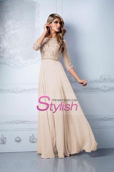 2015 Prom Dresses Bateau 3/4 Length Sleeve A Line Chiffon With Beads