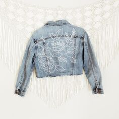 photo of artistic denim jacket A clever edit of stylish and street smart denim jeans. Customised Denim Jacket, Painted Denim Jacket, Custom Denim Jackets, Womens Jean Jackets, Best Jean Jackets, Denim Paint, Denim Vests, Diy Clothing, Custom Clothes