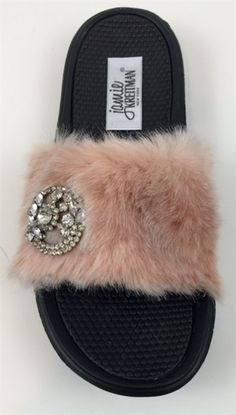 031df9faec10 Faux Fur Jeweled Rubber Slide Sandals are trendy