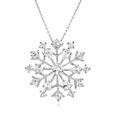 3.65 Carat tw White Sapphire Snowflake Pendant in Sterling Silver with Chain Netaya. $32.95. Perfect for a gift. Holiday jewelry. Genuine .925 Sterling Silver