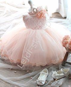 Koronkowa różowa sukienka dla dziewczynki | sukienka na chrzest , wesele