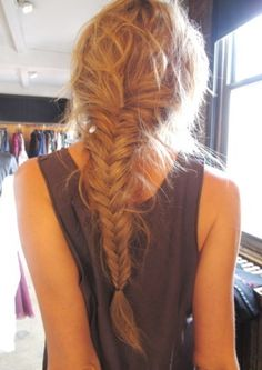 Messy fish tail braid:  Rinse out hair over tub- keeps it volume Wait until 70 to 80% dry Have someone braid it Hairspray