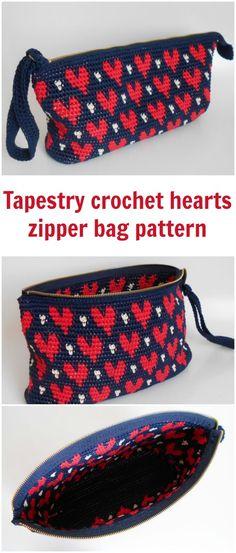 Tapestry crochet pattern for this heart pattern zipper clutch bag.