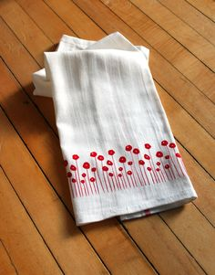 Set of Two Screen-printed Dish Towels with by MichelleBrusegaard