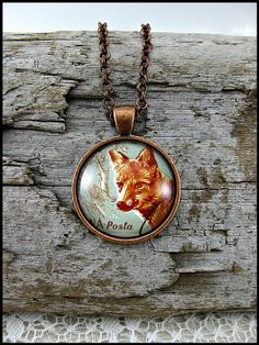 Postage Stamp Pendant / Forest Fox / Romania c. 1961 by OhThePost, $30.00