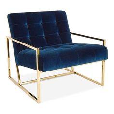 ACHICA | Kensington Stainless Steel Chair, Blue Velvet