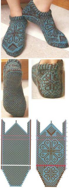 Knitting Patterns Slippers sock knitting socks from the toe Knitting Charts, Knitting Patterns Free, Free Knitting, Baby Knitting, Crochet Patterns, Knitted Slippers, Knit Mittens, Knitting Socks, Slipper Socks