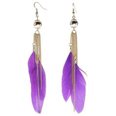 Purple Feather Drop Earrings ($10) ❤ liked on Polyvore Feather Earrings, Drop Earrings, Jewelry Box, Jewelery, Purple, Makeup, Polyvore, Hair, Fashion