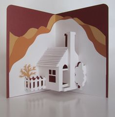 PopUp 3D Card Depicts a Mediterranean Landscape Home by BoldFolds