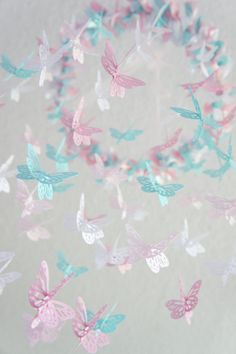 Pink Aqua Nursery Butterfly Mobile Nursery от LovebugLullabies